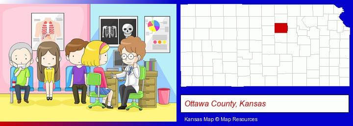 a clinic, showing a doctor and four patients; Ottawa County, Kansas highlighted in red on a map
