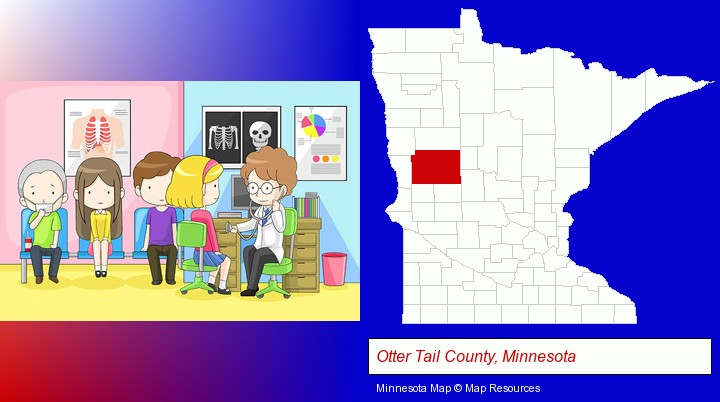 a clinic, showing a doctor and four patients; Otter Tail County, Minnesota highlighted in red on a map