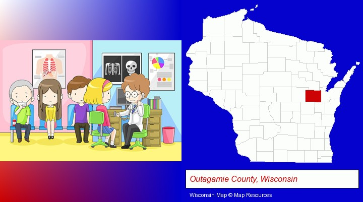a clinic, showing a doctor and four patients; Outagamie County, Wisconsin highlighted in red on a map