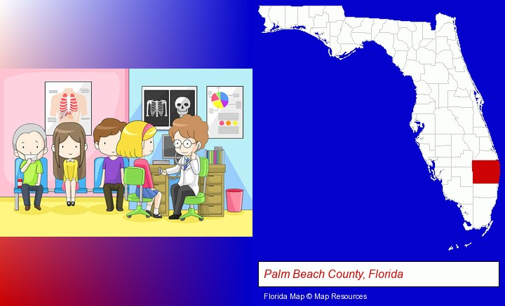 a clinic, showing a doctor and four patients; Palm Beach County, Florida highlighted in red on a map