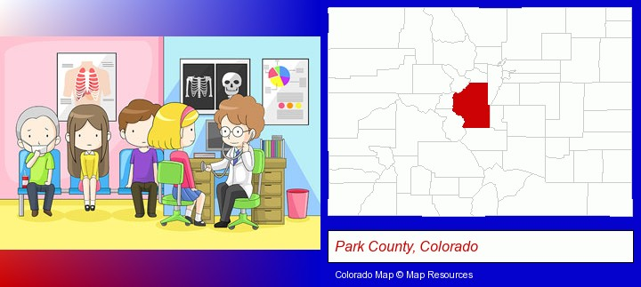 a clinic, showing a doctor and four patients; Park County, Colorado highlighted in red on a map