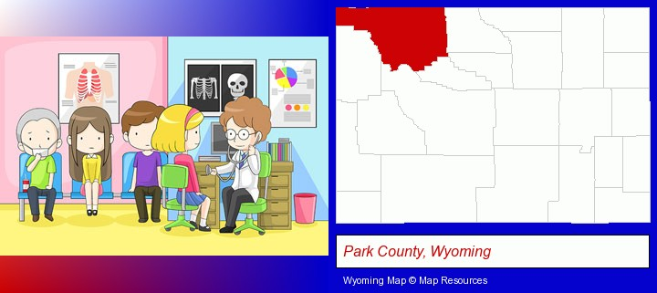 a clinic, showing a doctor and four patients; Park County, Wyoming highlighted in red on a map