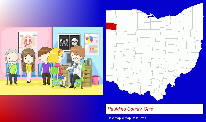 a clinic, showing a doctor and four patients; Paulding County, Ohio highlighted in red on a map