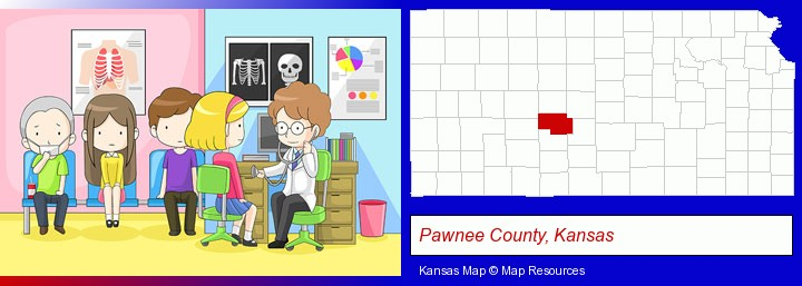 a clinic, showing a doctor and four patients; Pawnee County, Kansas highlighted in red on a map