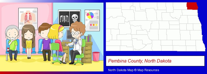 a clinic, showing a doctor and four patients; Pembina County, North Dakota highlighted in red on a map