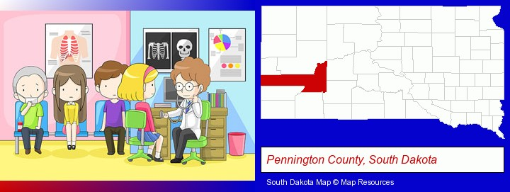 a clinic, showing a doctor and four patients; Pennington County, South Dakota highlighted in red on a map