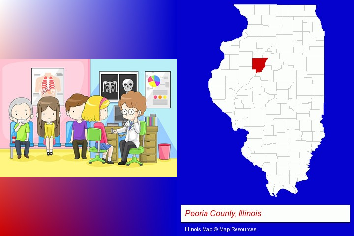 a clinic, showing a doctor and four patients; Peoria County, Illinois highlighted in red on a map