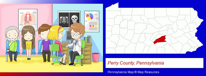 a clinic, showing a doctor and four patients; Perry County, Pennsylvania highlighted in red on a map
