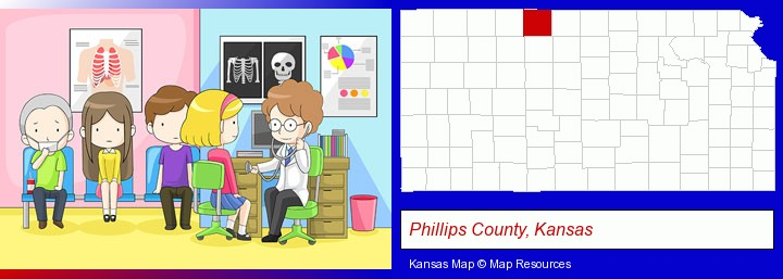 a clinic, showing a doctor and four patients; Phillips County, Kansas highlighted in red on a map