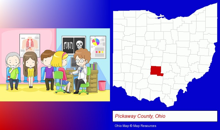 a clinic, showing a doctor and four patients; Pickaway County, Ohio highlighted in red on a map