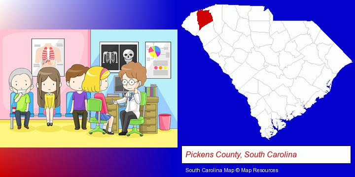 a clinic, showing a doctor and four patients; Pickens County, South Carolina highlighted in red on a map