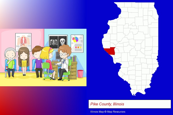 a clinic, showing a doctor and four patients; Pike County, Illinois highlighted in red on a map