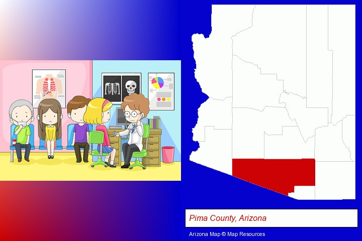a clinic, showing a doctor and four patients; Pima County, Arizona highlighted in red on a map