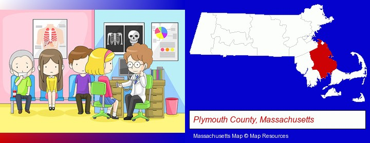 a clinic, showing a doctor and four patients; Plymouth County, Massachusetts highlighted in red on a map