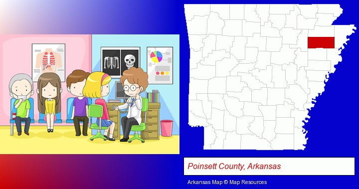 a clinic, showing a doctor and four patients; Poinsett County, Arkansas highlighted in red on a map
