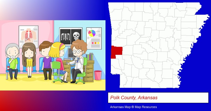 a clinic, showing a doctor and four patients; Polk County, Arkansas highlighted in red on a map