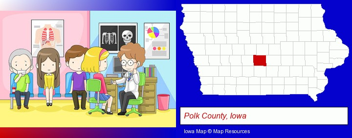 a clinic, showing a doctor and four patients; Polk County, Iowa highlighted in red on a map