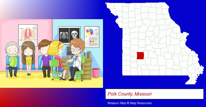 a clinic, showing a doctor and four patients; Polk County, Missouri highlighted in red on a map
