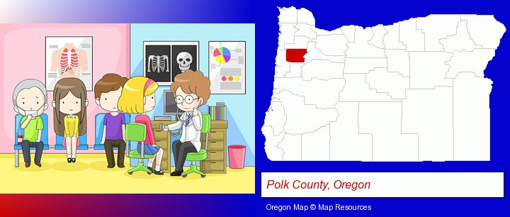 a clinic, showing a doctor and four patients; Polk County, Oregon highlighted in red on a map