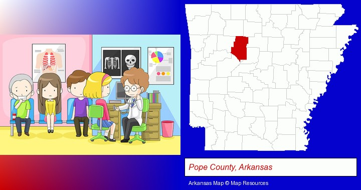 a clinic, showing a doctor and four patients; Pope County, Arkansas highlighted in red on a map