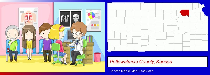 a clinic, showing a doctor and four patients; Pottawatomie County, Kansas highlighted in red on a map