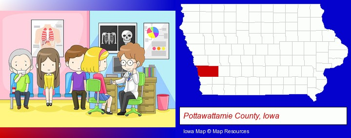 a clinic, showing a doctor and four patients; Pottawattamie County, Iowa highlighted in red on a map