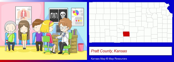 a clinic, showing a doctor and four patients; Pratt County, Kansas highlighted in red on a map