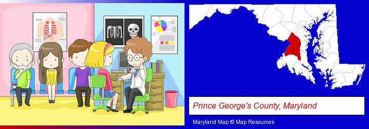 a clinic, showing a doctor and four patients; Prince George's County, Maryland highlighted in red on a map