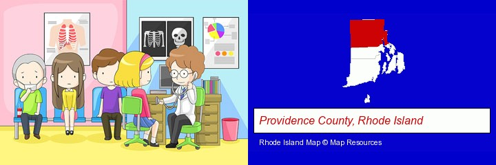 a clinic, showing a doctor and four patients; Providence County, Rhode Island highlighted in red on a map
