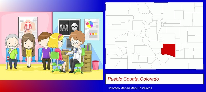 a clinic, showing a doctor and four patients; Pueblo County, Colorado highlighted in red on a map