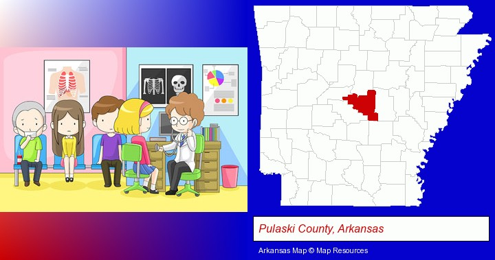 a clinic, showing a doctor and four patients; Pulaski County, Arkansas highlighted in red on a map