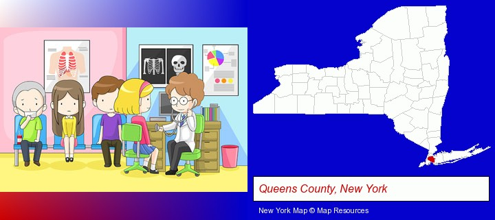 a clinic, showing a doctor and four patients; Queens County, New York highlighted in red on a map