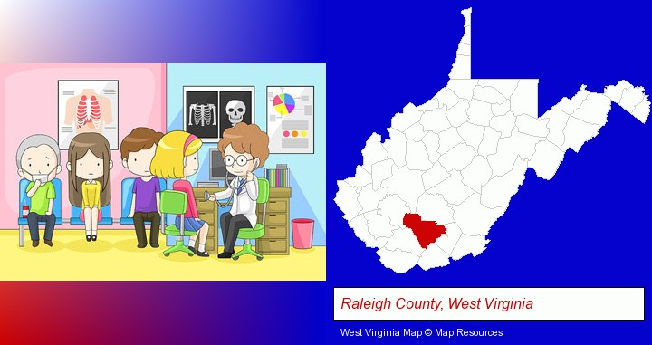 a clinic, showing a doctor and four patients; Raleigh County, West Virginia highlighted in red on a map