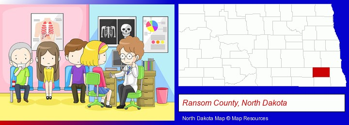 a clinic, showing a doctor and four patients; Ransom County, North Dakota highlighted in red on a map
