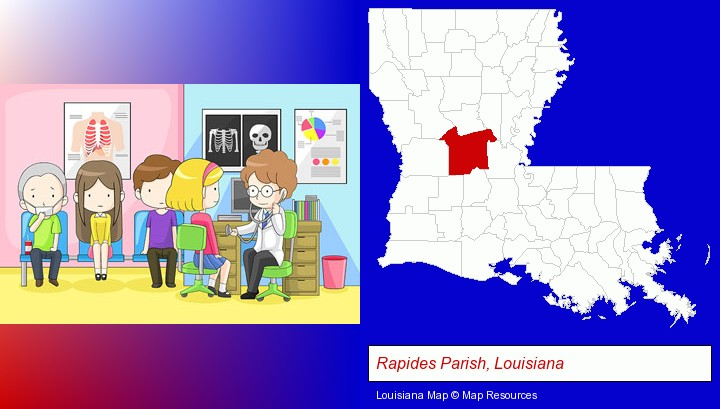 a clinic, showing a doctor and four patients; Rapides Parish, Louisiana highlighted in red on a map