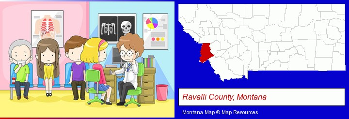 a clinic, showing a doctor and four patients; Ravalli County, Montana highlighted in red on a map