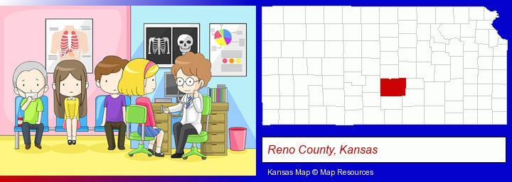 a clinic, showing a doctor and four patients; Reno County, Kansas highlighted in red on a map