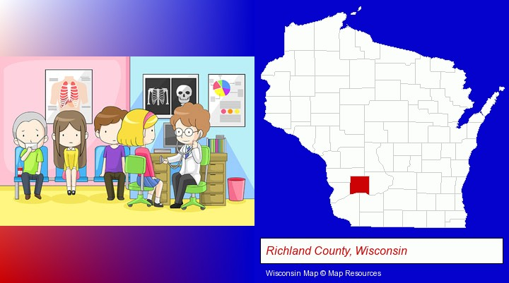 a clinic, showing a doctor and four patients; Richland County, Wisconsin highlighted in red on a map