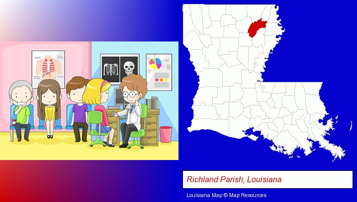 a clinic, showing a doctor and four patients; Richland Parish, Louisiana highlighted in red on a map