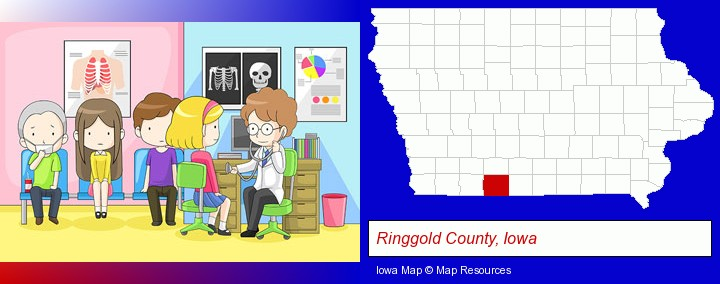 a clinic, showing a doctor and four patients; Ringgold County, Iowa highlighted in red on a map