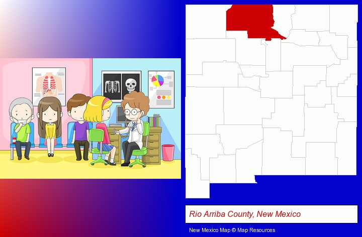a clinic, showing a doctor and four patients; Rio Arriba County, New Mexico highlighted in red on a map