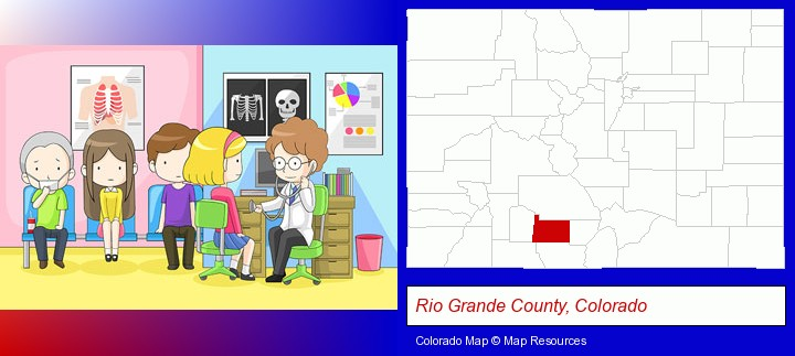 a clinic, showing a doctor and four patients; Rio Grande County, Colorado highlighted in red on a map