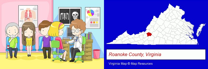 a clinic, showing a doctor and four patients; Roanoke County, Virginia highlighted in red on a map