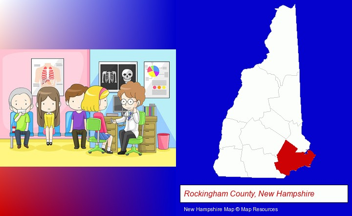 a clinic, showing a doctor and four patients; Rockingham County, New Hampshire highlighted in red on a map
