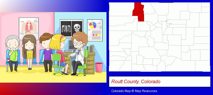 a clinic, showing a doctor and four patients; Routt County, Colorado highlighted in red on a map