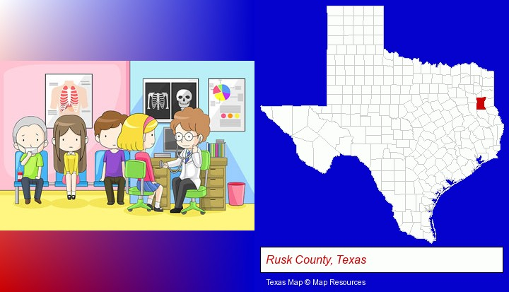 a clinic, showing a doctor and four patients; Rusk County, Texas highlighted in red on a map