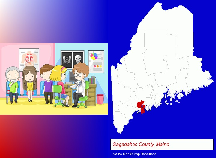a clinic, showing a doctor and four patients; Sagadahoc County, Maine highlighted in red on a map