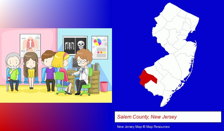 a clinic, showing a doctor and four patients; Salem County, New Jersey highlighted in red on a map