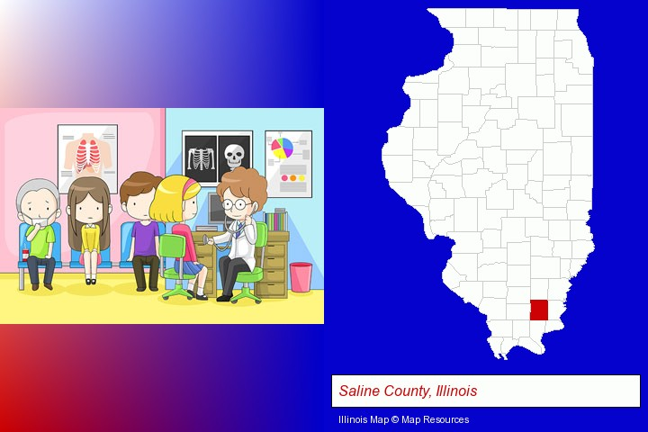 a clinic, showing a doctor and four patients; Saline County, Illinois highlighted in red on a map
