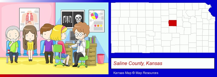a clinic, showing a doctor and four patients; Saline County, Kansas highlighted in red on a map